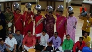 Members of Opposition parties stage protest over the city's water crisis at PMC general body meeting on Tuesday.(HT PHOTO)