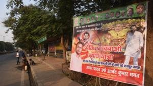 A poster in Patna showing RJD leader Tejashwi Prasad Yadav as Ram and chief minister Nitish Kumar as Ravan has sparked off a political row(HT Photo)