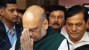 BJP national president Amit Shah with Assam chief minister Sarbanada Sonwal and other party leaders during a visit to Kamakhya Temple, in Guwahati on October 17.(PTI Photo)