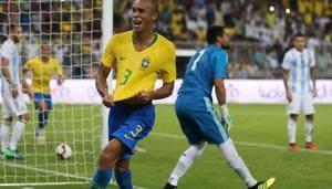 Brazil's defender Miranda (C) celebrates after scoring a goal during the international friendly match Brazil vs Argentina at the King Abdullah Sport City Stadium in Jeddah on October 16, 2018(AFP)