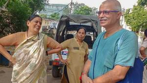Human rights advocate Sudha Bharadwaj (left) after she was arrested by the Pune police in connection with the Bhima Koregaon violence, in Faridabad on August 28, 2018.(PTI)
