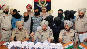 Police officials addressing the media in Ludhiana on Wednesday.(HT Photo)