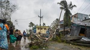 A damaged mobile tower seen struck down on road due to Cyclone Titli, at Barua village of Srikakulam.(PTI)