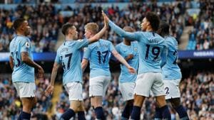 Manchester City's Leroy Sane celebrates scoring their fifth goal with team mates.(REUTERS)