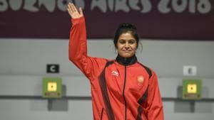 Manu Bhaker of India celebrate after winning the Gold medal after competing in 10m Air Rifle Women during Day 3 of Buenos Aires 2018 Youth Olympic Games at TecnÛpolis Park on October 9, 2018 in Buenos Aires, Argentina.(Getty Images)