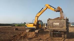 A truck without a registration number at a mining site in Dera bassi.(HT Photo)