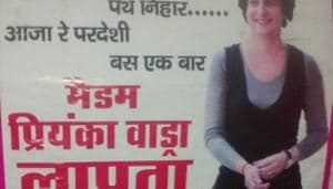 """Posters accusing Priyanka Gandhi Vadra of being """"missing"""" and terming her an """"emotional blackmailer"""" were seen on Monday in some areas of Uttar Pradesh's Rae Bareli.(HT Photo)"""