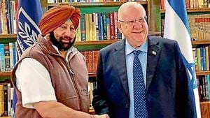 Punjab chief minister Captain Amarinder Singh with Israeli president Reuven Rivlin at his official residence in Jerusalem on Tuesday.(PTI)