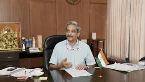 File photo of Goa chief minister Manohar Parrikar in his office in Panaji.(PTI Photo)