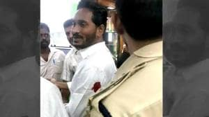 YSR Congress chief Jagan Mohan Reddy at the Vizag airport after being attacked on Thursday.(HT Photo)