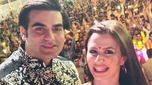 Arbaaz Khan with Giorgia Andriani during Ganesh Chaturthi celebrations in Mumbai in September this year.(Instagram)
