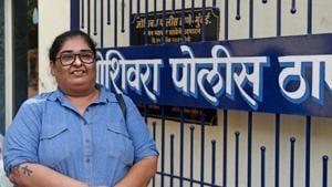 Vinta Nanda registers an FIR against Alok Nath at Oshiwara Police Station in Mumbai.(Satyabrata Tripathy/HT Photo)