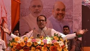 Madhya Pradesh chief minister Shivraj Singh Chouhan addresses youths at a BJP Town hall meeting at Ravindra Bhawan in Bhopal on Sunday.(Mujeeb Faruqui/HT Photo)