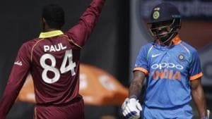 Keemo Paul gave West Indies the breakthrough with the wicket of Shikhar Dhawan.(Twitter)