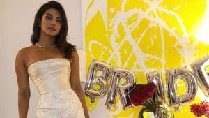 Priyanka Chopra wore a Marchesa gown to her bridal shower.(Instagram)