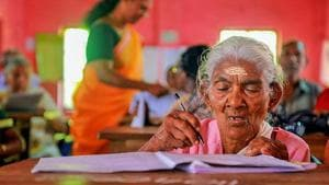 Karthyayini Amma, 96-year-old, a native of Alappuzha, appears for the Kerala State Literacy Mission Authority's Aksharalaksham literacy examination at Government Lower Primary School, Cheppad in Alleppy district.(PTI)