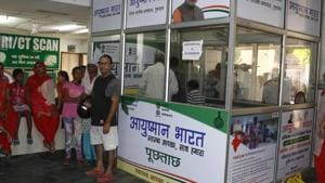 A month after the launch of Centre's Ayushman Bharat health insurance scheme, about 6, 340 government hospitals are providing treatment as they are empanelled by default.(Yogendra Kumar/HT PHOTO)