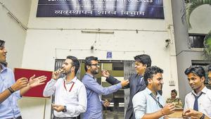 Students of Pumba get into the Diwali festive season by exchanging sweets on the campus on Wednesday.(SANKET WANKHADE/ HT PHOTO)