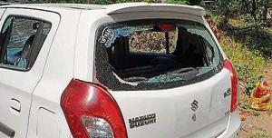 One of the cars which was vandalised during the incident in Sasane nagar on Sunday(HT/PHOTO)