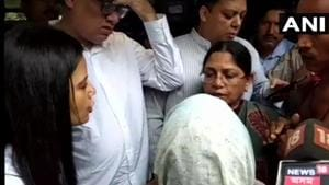 TMC leaders meet the families of the five people who were killed by suspected United Liberation Front of Assam (Independent) ultras.(ANI/Twitter)
