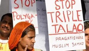 Activists protest against the issue of 'Triple Talaq' at Jantar Mantar in New Delhi.(PTI File Photo)