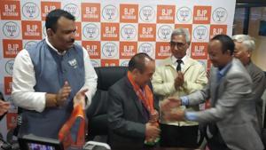 Mizoram Speaker Hiphei joins BJP.(ANI/Twitter)