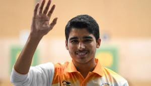 India's Saurabh Chaudhary celebrates after winning the men's 10m air pistol shooting final during the 2018 Asian Games(AFP)