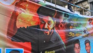 AIADMK ministers and party cadres protest the release of actor Vijay's latest Tamil film
