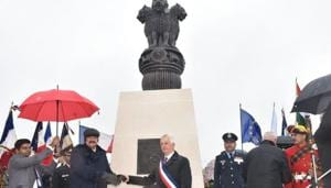 Vice President M Venkaiah Naidu on Saturday inaugurated the first India-bulit war memorial in northern France to pay tribute to thousands of Indian soldiers who fought selflessly and made supreme sacrifices during the World War I.(ANI)