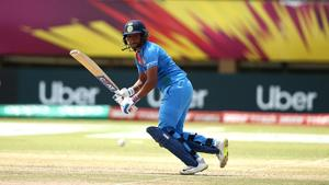 Harmanpreet Kaur of India bats during the ICC Women's World T20 2018 match between New Zealand and India at Guyana National Stadium on November 9, 2018 in Providence, Guyana.(IDI via Getty Images)