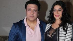 Actors Govinda and Mishika Chourasia at a press conference regarding their upcoming film Rangeela Raja in Mumbai.(IANS)