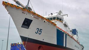 The third Coast Guard Offshore Patrol Vessel (OPV) at L&T Shipyard, Kattupalli near Chennai on August 28.(PTI Photo/Representative image)