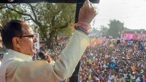 Madhya Pradesh chief minister Shivraj Singh Chauhan addresses a rally during his 'Jan Arashirvad Yatra' in Jabalpur on October 25.(PTI Photo)