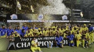 File image - Members of Chennai Super Kings pose with trophy after wining against Sunrisers Hyderabad in IPL 2018 final.(AP)