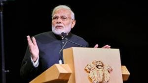 Prime Minister Narendra Modi speaks during the Singapore Fintech Festival on Wednesday.(PTI Photo)