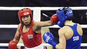 New Delhi, India - Nov. 16, 2018: Boxer Sarita Devi (in Red) in a bout against Switzerland`s Diana Sandra Brugger (in Blue) in Women's 60 kg category during AIBA Women's World Boxing Championships 2018.(Sanjeev Verma/HT PHOTO)