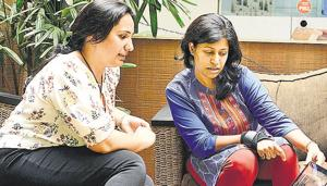 (From left) Protima Sharma and Smriti Gupta discuss regarding their campaign page in Pune, on Tuesday.(Photo by Shankar Narayan/HT PHOTO)