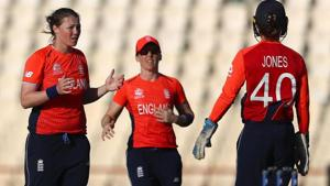 Anya Shrubsole (L) celebrates after taking a wicket against South Africa in the ICC Women's World T20.(Twitter)