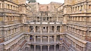 Rani Ki Vav, a seven storey, ornate stepwell in Gujarat, built in the 11th century, was recognised as a UNESCO World Heritage Site in 2014 and now features on the new Rs 100 note.(Sanchit Khanna/HT PHOTO)