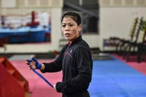 New Delhi: Boxer MC Mary Kom during a practice session ahead of Women's World Boxing Championship.(PTI)