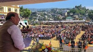 Home Minister Rajnath Singh addresses an election meeting at Kamalanagar , in Mizoram, Friday, November 16, 2018. The saffron party urged the Reang refugees of the state, now living in neighbouring Tripura, to vote for it in the November 28 assembly elections.(PTI)