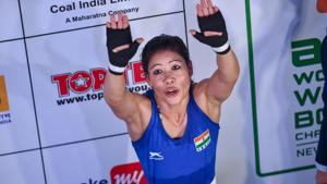 New Delhi: Indian boxer MC Mary Kom reacts after defeating China's Wu Yu in the quarterfinals of women's light flyweight.(PTI)