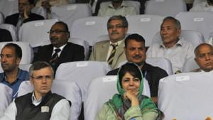 The dissolution, announced in a statement by Raj Bhawan, came after Mehbooba Mufti's Peoples Democratic Party (PDP) and its arch-rival National Conference (NC) teamed up with the Congress for a shot at government formation with the support of 56 legislators in the 87-member assembly.(HT Photo)