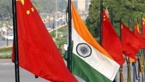 Flags of China and India at Vijay Chowk in New Delhi.(HT File Photo)