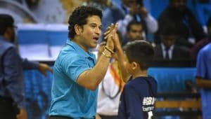 Sachin Tendulkar plays a friendly football match organised by UNICEF on the occasion of World Children's Day.(PTI)