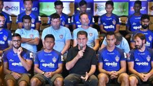 Chennaiyin FC coach and former English footballer John Charles Gregory (C) speaks during a press conference.(AP)