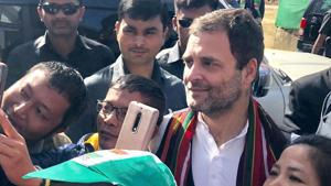 Congress President Rahul Gandhi with his supporters during an election rally in Champai, Mizoram, Tuesday, Nov 20, 2018.(PTI)