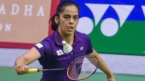 Lucknow: Saina Nehwal plays against Amolika Singh Sisodiya (unseen) at Syed Modi International Badminton Championships.(PTI)