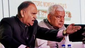 Dhanbad,Jharkhand,INDIA, November 3 State Minister for urban Development and Transport : CP Singh talking to to media persons in Dhanbad(Bijay/ HT Photos)