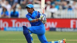 Harmanpreet Kaur became the first Indian woman to score a T20 hundred in an international.(Twitter (@WorldT20))